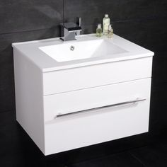 600 Vanity Unit with Basin for Bathroom Ensuite Cloakroom - Luxury Wall Mounted Soft Closing White Compact Design - Inset Ceramic Hand Wash Sink - Modern Deep Fill Drawer Wall Hung Storage in Gloss Finish (Dimensions ** MDF Furniture Cabinet - Height: White Vanity Unit, Basin Vanity Unit, Basin Unit, Bathroom Vanity Units, Bathroom Storage Shelves, Wall Mounted Vanity, Storage Drawers, Bathroom Ideas, Bathroom Sinks