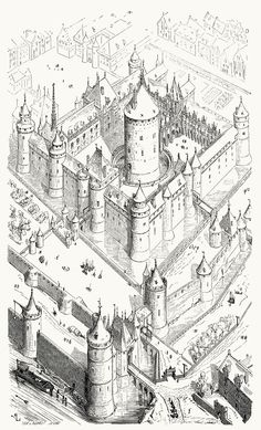 The Louvre, at the time of Charles V (Second half of the XIV century).  From Dictionnaire raisonné de l'architecture française du XIe au XVIe siècle (Reasoned dictionary of French architecture, from the XI to the XVI century), vol. 3 by E. Viollet-Le-Duc. Paris, 1875.
