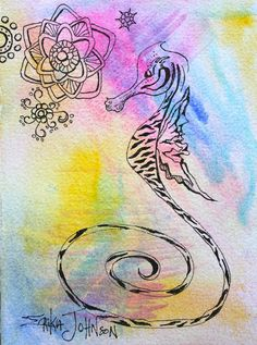 Whimsical Sea Horse/ Sea Dragon Original Pen & ink drawing with Water Color back ground  5 1/2 x 7 1/2 inches  by Mississippi Artist - Erika Johnson  www.erikajohnsoncreations.com  https://www.facebook.com/erikajohnsoncreations  This painting can be paired with another from this series for a striking display  Painted on 140lb Watercolor Paper with deckled edges  Original watercolor painting signed by Artist  Ships in protective packaging  Recommended framing: Under glass with acid free mat…
