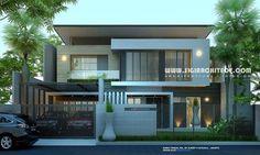 Rumah mewah 2 lantai & kolam renang desain fasad rumah modern minimalis, berdiri diatas lahan berbentuk trapesium 27 X 21 M, Luas bangunan +/- 800 M2.