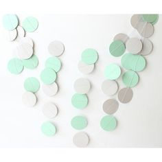 Mint Green & Gray Paper Garland Wedding Decor Bridal Shower Gender... ($10) ❤ liked on Polyvore featuring home & living, home décor and silver