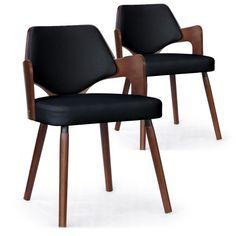 Lot de 2 chaises scandinave Dima Bois Noisette et Noir