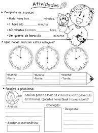 Resultado de imagen para atividades medidas de tempo