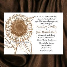 Sunflower Wedding Invitation & RSVP   Floral by KateTaylorDesigns