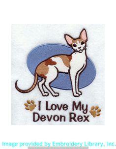 Stickmotiv Stickbild Aufnäher Stickerei Emblem Devon-Rex Devon-Rex / Stickerei I Love My Devon Rex (E5144) Datei von www.emblibrary.com