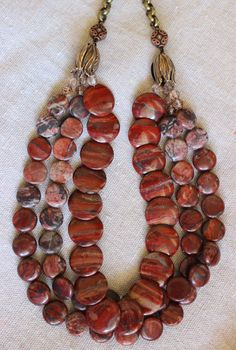 Red fall necklace red jasper beads 3 strand statement bronze chain