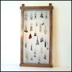 Wall Mounted Earring Hanger - Wood - Stained - Mesh. $28.00, via Etsy.