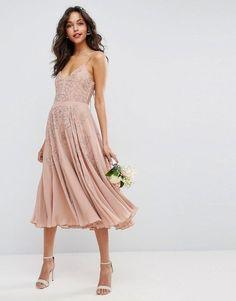 Asos WEDDING Embellished Cami Strappy Midi Dress