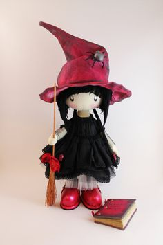 Doll little witch Kiki  halloween witch halloween  doll  witch home decor cloth witch witch's broom hat (110.00 USD) by DollsLittleAngels