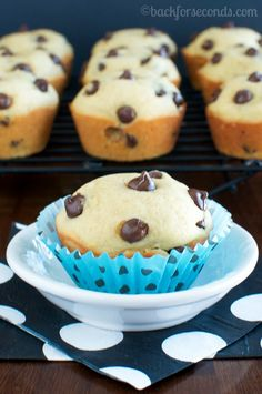 Light and Fluffy Chocolate Chip Muffins on MyRecipeMagic.com