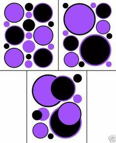 Purple Black Polka Dots Wall Art Decals Teen Girls Room Baby Nursery Stickers #decampstudios