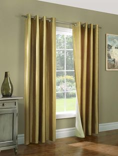 Awad Home Fashion 2 Piece Solid FAUX SILK BLACKOUT Grommet Window Panel Curtain Drapes with Foam Backing - 37'W X 84'L, Gold * See this great product. (This is an affiliate link) #WindowTreatments
