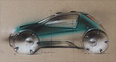 Mini cooper concept sketch, paper, acryl, airbrush, pencil