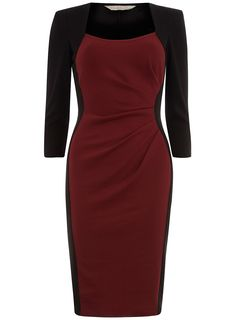 Black and port dress: Billie and Blossom black dress with port panelling and 3/4 length sleeves. 98% Polyester,2% Elastane. Machine washable.