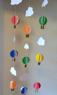 Items similar to Hot Air Balloon Decorations / Hot air balloon birthday decor / DIY Crib Mobile / Birthday Decor / Up Up and Away Shower- you color choices on Etsy Balloon Decorations, Baby Shower Decorations, Balloon Ideas, Diy Fleur Papier, Decoration Creche, Baby Crib Diy, Diy And Crafts, Crafts For Kids, Fleurs Diy