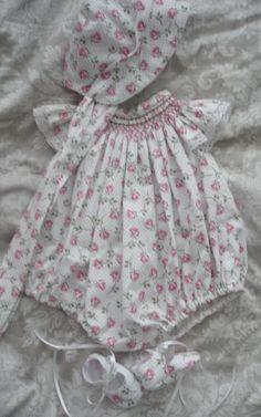 Hand smocked romper set