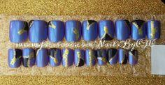 Two tone purple zipper nails