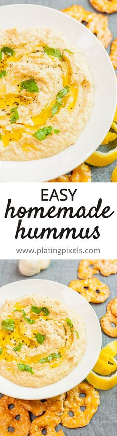 The best EASY Homemade Hummus recipe by Plating Pixels. Chickpeas, tahini, olive oil and garlic easy homemade hummus. The most flavorful hummus you can make in minutes. - www.platingpixels.com