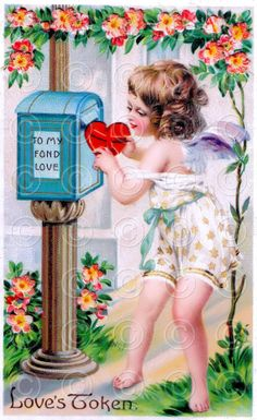 Victorian Valentine's Day Cupid Love's Token by southernbliss, $2.95