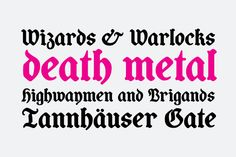 Coop Blackletter Font: Coop Blackletter's core concept was to create a more friendly blackletter typeface by pulling together two very different sources. Gothic Fonts, Black Letter, Death Metal, Modern Graphic Design, Typography, Letters, Desktop, Inspiration, Type