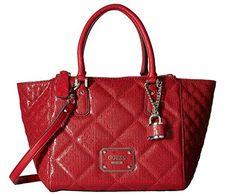 74fad281302 Guess Ophelia Quilted Satchel Handbag Logo Embossed, Lipstick Wooden Handle  Bag, Wooden Handles,