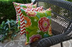 """Set of 4 ~ Indoor / Outdoor 20"""" Red White Zig Zag Chevron & Red Green Annie Floral Pillows by PillowsCushionsOhMy, $79.96"""