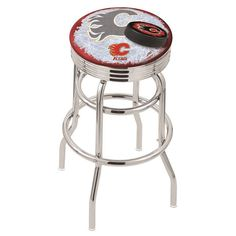 Calgary Flames NHL D2 Retro Chrome Ribbed Ring Bar Stool. Available in 25-inch and 30-inch seat heights. Visit SportsFansPlus.com for details.