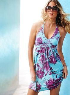 Sweet Hawaii style printing halter V-neck high waist loose fresh beach blue dress/ Sexy girls' beach wear LML0287    Description: Beacg dress Condition: 100% brand new Customized orders are well accepted Size: free size fits regular women size S/M/L     Note: Color may be lighter or dar...