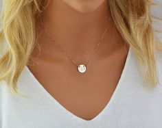 Love this, and how the circle sits in the jugular notch of the collar bone. Monogram Disc Necklace, Personalized Disc Necklace, Initial Disc Gold, Rose Gold, Sterling Silver, Name Disc Necklace, Monogram Pendant by malizbijoux. Explore more products on http://malizbijoux.etsy.com