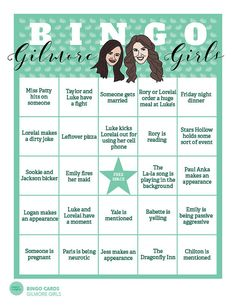 20 Bingo Game Cards // Gilmore Girls Game // by PaperConfete