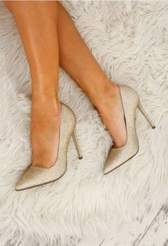 Glitter Me This Gold Glitter Stilettos