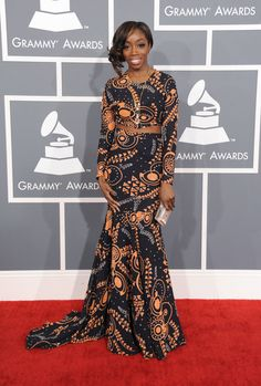Grammys 2013: Estelle wore a Genelle Brooks x Love Collins printed dress.