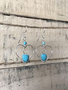 Silver wire wrapped heart earrings with howlite turquoise
