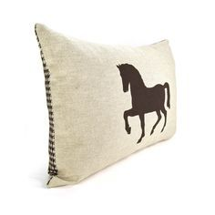Horse pillow case - Dark brown horse print on natural canvas front and printed houndstooth back lumbar pillow - 12x18 accent pillow cover. $32.00, via Etsy.
