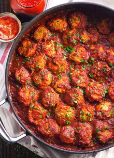 Spicy Chicken Meatballs Recipe made healthy with zucchini in place of breadcrumbs and simmered in scrumptious balsamic harissa sauce. | ifoodreal.com