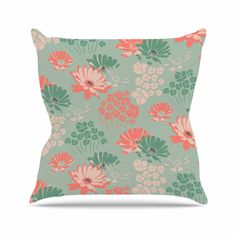 Zara Martina Mansen Wild Gatherings Green Coral Outdoor Throw Pillow