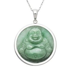 Sterling Silver Carved Natural Green Jade Buddha Pendant Necklace18 * Check this awesome product by going to the link at the image.(It is Amazon affiliate link) #vegas