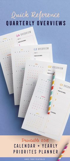 What are your personal and professional goals for Printable calendar with yearly priorities and dated quarterly goals overviews. Keep organised and never miss a birthday again! Arc Planner, Planner Inserts, Life Planner, Planner Ideas, 2018 Printable Calendar, Daily Planner Printable, Event Planning Business, Goal Planning, Planner Organization