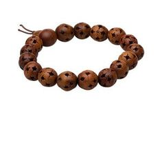 yb item 0031 Bracelet, stretch, wood (dyed), brown, 12mm carved round, 8 inches. Sold individually.
