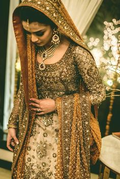 Gorgeous gold and bronze bridal wear Indian Bridal Fashion, Pakistani Wedding Outfits, Pakistani Wedding Dresses, Bridal Outfits, Indian Dresses, Asian Fashion, Indian Outfits, High Fashion, Asian Wedding Dress