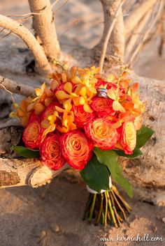 Wedding bouquet with orange roses... Wedding ideas for brides, grooms, parents & planners ... https://itunes.apple.com/us/app/the-gold-wedding-planner/id498112599?ls=1=8  ... The Gold Wedding Planner iPhone App.