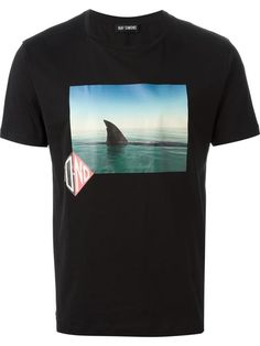 Shop Raf Simons shark photo print tee