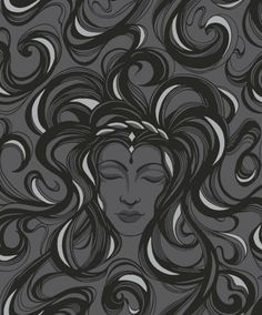 Nemesis Rich Ebony by Opus Muras (OMCC09109) - Opus Muras Wallpapers - A beautiful detailed image of a Medusa like figure in rich velvet touch flock ebony black flock on a matt black background, with silver detail. Paste the wall. Please request sample for true colour match.