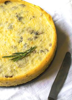 Easter brunch recipe: Caramelized Mushroom & Shallot Quiche with Polenta Crust, naturally gluten-free