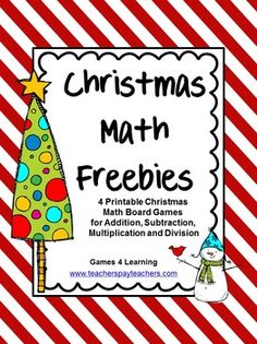 Christmas Math FREEBIE by Games 4 Learning contains 4 printable Christmas Math Board Games. Christmas Board Games, Christmas Activities, Math Activities, Escuela Elemental, Math Board Games, Fun Games, Math Division, Christmas Words, Math Tutor