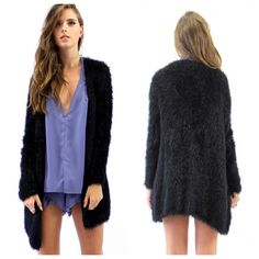 Long Fuzzy Cardigan Black Longer length around thigh to knee. Super soft relaxed fit. New never worn! Tag size M/L but I listed as a size Medium. Lioness Sweaters Cardigans