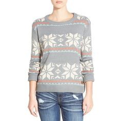Junior Element 'Maleena' Geo Pattern Sweater ($55) ❤ liked on Polyvore featuring tops, sweaters, grey multi, striped crewneck sweater, grey sweater, long sleeve tops, grey crewneck sweater and chunky sweater