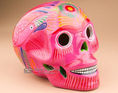 """Southwestern Day Of The Dead Painted Skull 6.5"""""""" (s19)"""