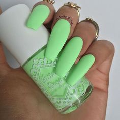 There are three kinds of fake nails which all come from the family of plastics. Acrylic nails are a liquid and powder mix. They are mixed in front of you and then they are brushed onto your nails and shaped. These nails are air dried. Neon Nails, My Nails, Matte Green Nails, Neon Green Nails, Neon Nail Colors, Aqua Nails, Yellow Nail, Colorful Nails, Matte Pink