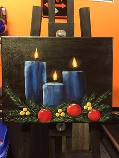 Christmas candles acrylic on canvas Christmas Face Painting, Christmas Paintings On Canvas, Christmas Artwork, Christmas Canvas, Winter Painting, Flowers In Vase Painting, Simple Watercolor Flowers, Easy Flower Painting, Acrylic Painting Flowers